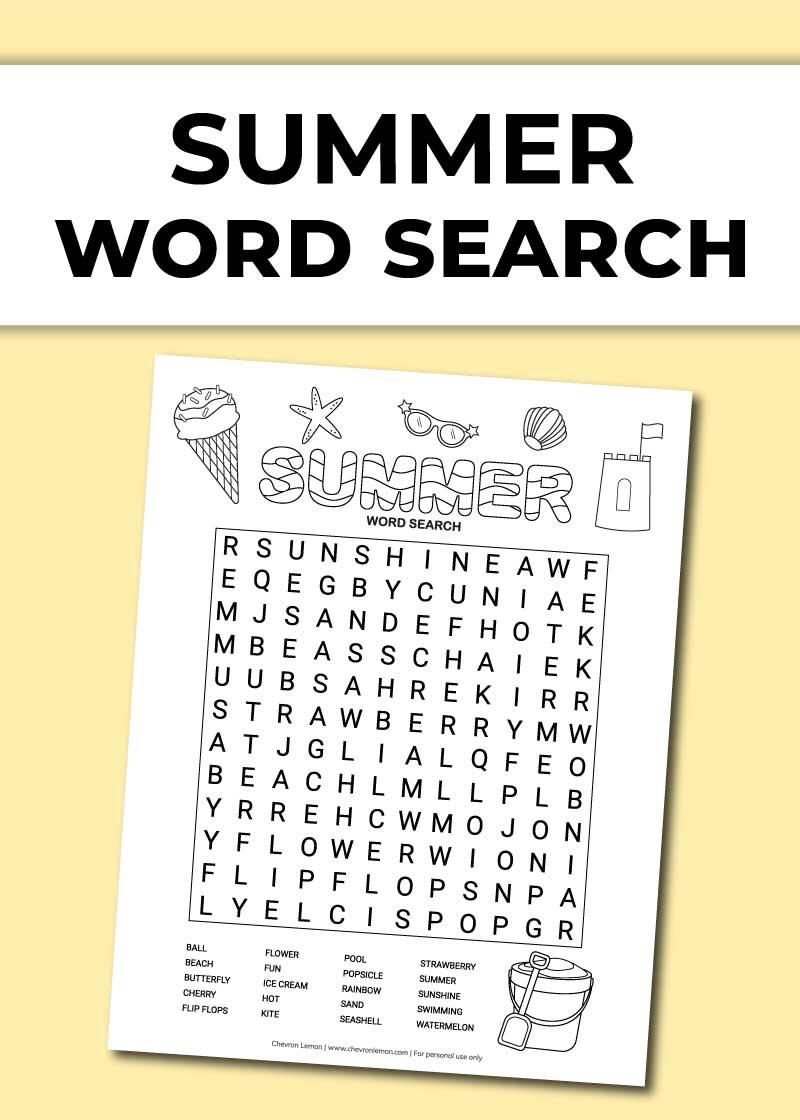 Summer word search - Chevron Lemon