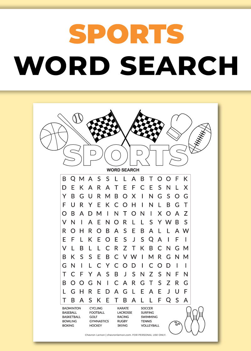 Free printable sports word search puzzle - Chevron Lemon